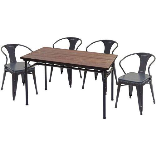 HHG Esszimmer-Set 486, 4x Esszimmerstuhl Esszimmertisch, Ulme Holz FSC