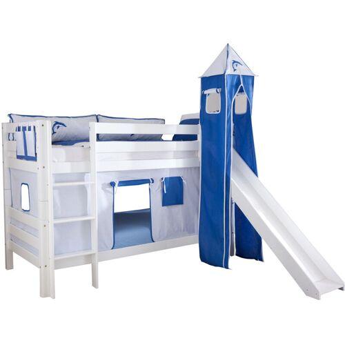 Relita - Etagenbett Bel, Buche massiv, weiß lackiert mit Rutsche +