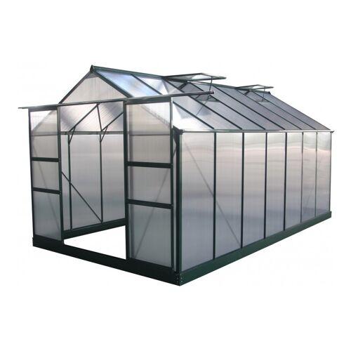 Green Protect - Gewächshaus 13,2m² grün, Doppelstegplatten aus