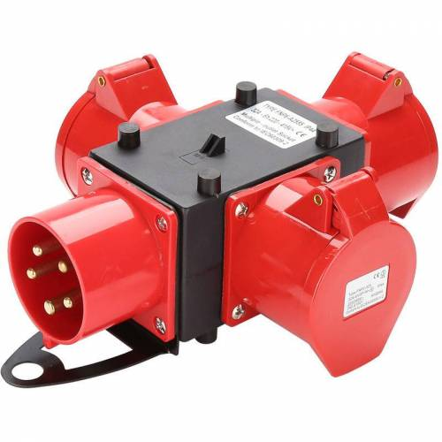 HENGDA Baustromverteiler Verteiler 3 x CEE 400V/32A IP44 CEE-Steckdose 5 Polig