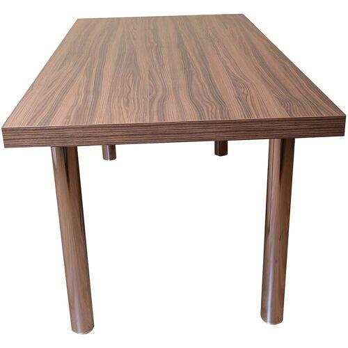 SAM - Holztisch 160 x 90 cm Holz-Dekor Eiche Dunkel, runde Metallbeine