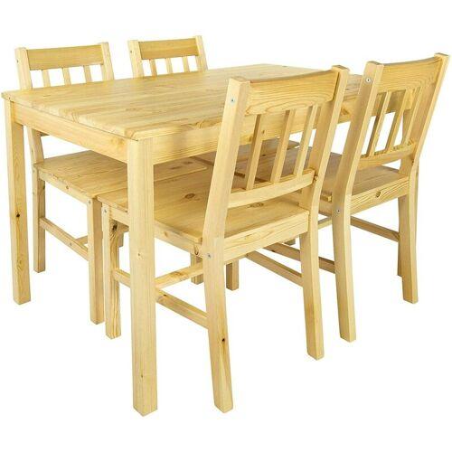Leomark - Holztisch mit 4 Stühlen natürliche Holzfarbe NATURAL PINE