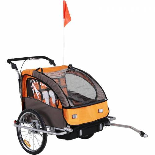 HOMCOM Fahrradanhänger für Kinder Kindertransporter Schiebewagen
