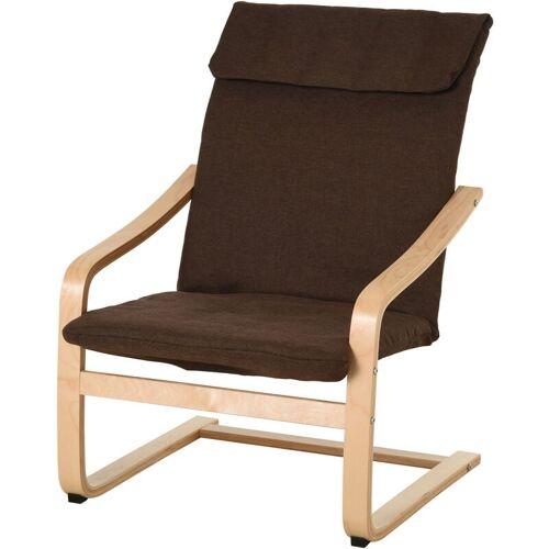 HOMCOM® Relaxsessel Ruhesessel Armlehnensessel Leinenbezug Holzgestell