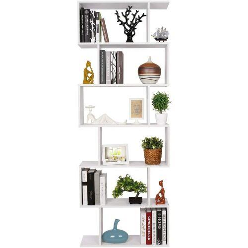 Homfa Bücherregal Regal mit 6 Ebenen, Raumteiler Standregal Büroregal