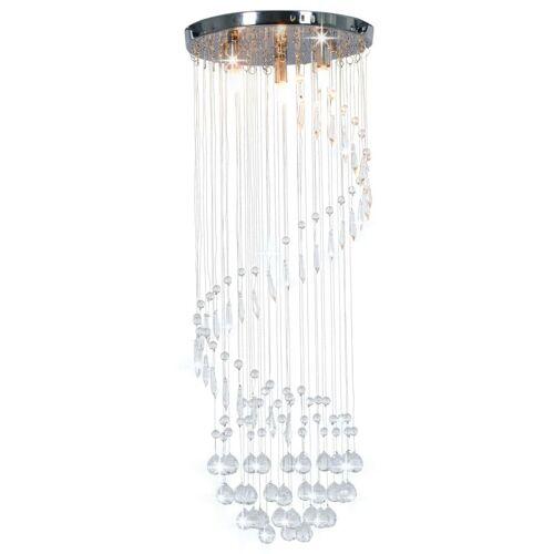 HOMMOO Deckenleuchte mit Kristallperlen Silbern Spirale G9 VD23174 - Hommoo