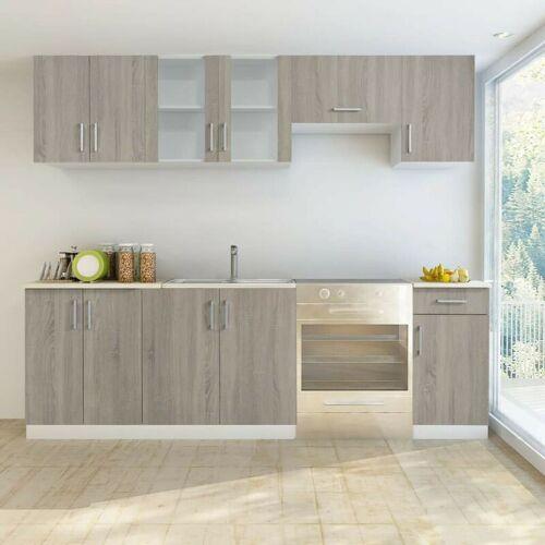 Hommoo Küchenzeile 7-tlg. Eichen-Look VD08733