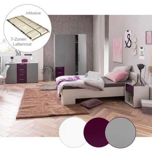 LOMADOX Jugendzimmer Set mit Sideboard NINOVE-04 in platingrau, aubergine &