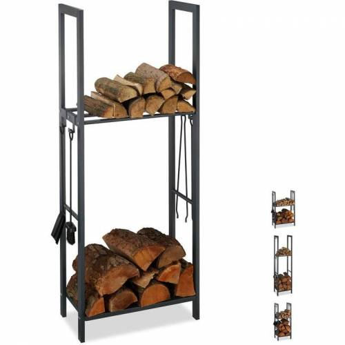 RELAXDAYS Kaminholzregal mit 2 Ablagen, aus Stahl, 4 Haken für Kaminbesteck,