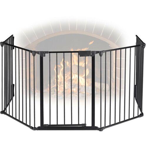 RELAXDAYS Kaminschutzgitter 5 Elemente, Kamingitter Kinderschutz, Stahl, mit Tür,
