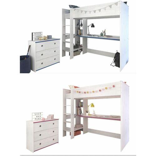 PARISOT Kinderzimmer Smoozy 2-teilig weiß - pink - blau Bett + Kommode +