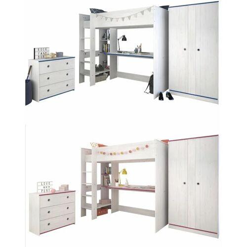 PARISOT Kinderzimmer Smoozy 3-teilig weiß - pink - blau Bett + Kommode +