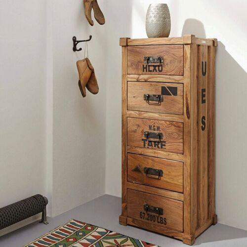 WOLF MÖBEL Kommode, 5 Schubläden, Sheesham-Holz, ca. 46 x 40 x 115 cm, 42,4 kg