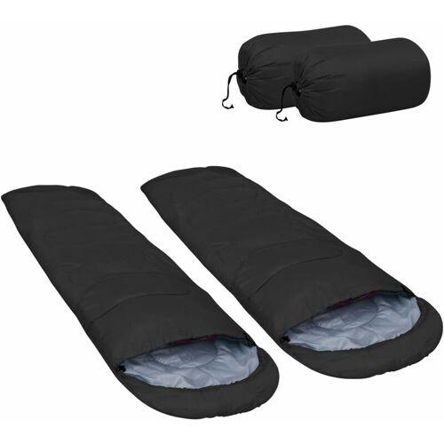 VIDAXL Leichte Schlafsäcke 2 Stk. Schwarz 15? 850g