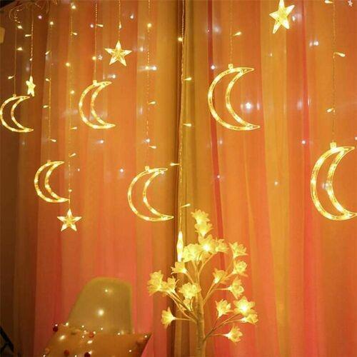 THSINDE Lichtkette Stern Mond Licht Vorhang LED LED Mond Stern Vorhang hat 8
