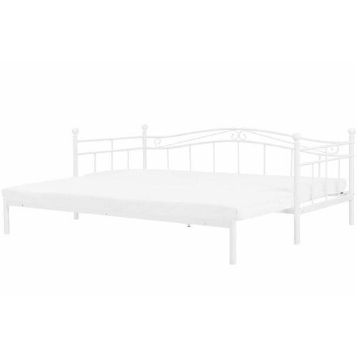 Beliani - Metallbett Weiß 80 x 200 cm Ausziehbar Mit Lattenrost Metall