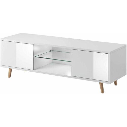 3xe Living - Coleus Scandinavian TV-Ständer weiß / weiß glänzend 140cm