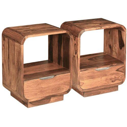 ASUPERMALL Nachttisch mit Schublade 2 Stk Sheesham-Holz Massiv 40x30x50 cm