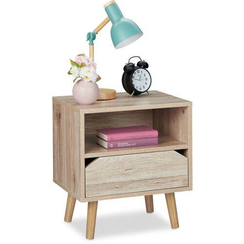 RELAXDAYS Nachttisch mit Schublade, Holzoptik, Beistelltisch Schlafzimmer, HBT:
