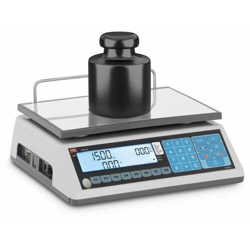 TEM - Preisrechenwaage geeicht 6 kg/2 g 15 kg/5 g LCD DIsplay Akku 100