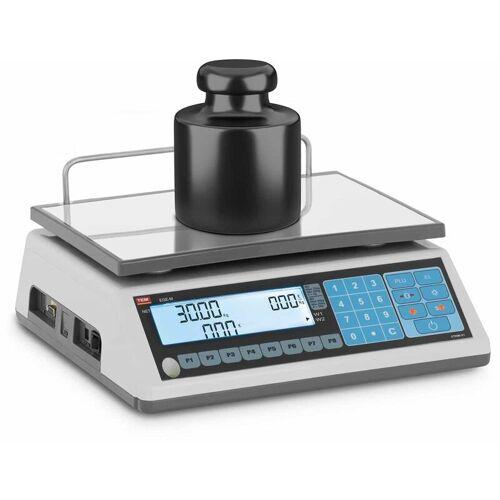 TEM Preisrechenwaage geeicht 15 kg/5 g 30 kg/10 g LCD DIsplay Akku 100 h