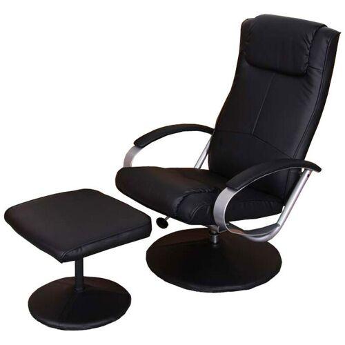 HHG Relaxsessel Siena mit Hocker ~ schwarz