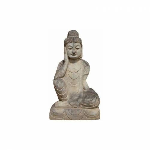 Asienlifestyle - Ruhender Guanyin Buddha (71cm) Garten Naturstein Statue