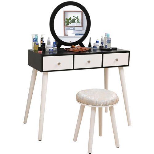 Oobest - Schminktisch mit Spiegel und Sitzhocker Hocker moderner