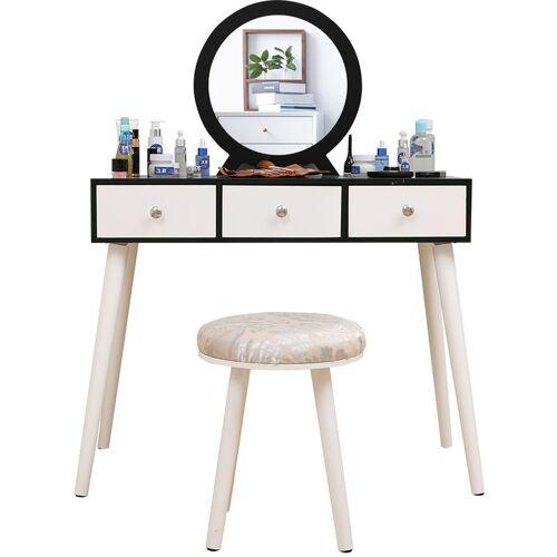 Wyctin - Schminktisch mit Spiegel und Sitzhocker Hocker moderner
