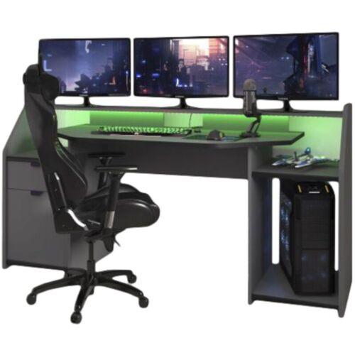 PARISOT Schreibtisch Gamer Set up 180 x 90 cm ABS-Kante LED Beleuchtung grau
