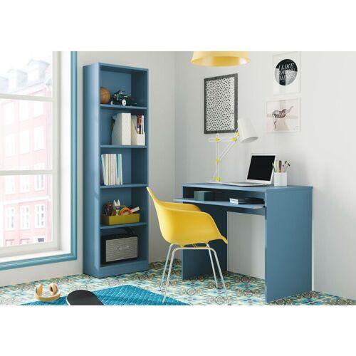 DMORA Schreibtisch mit ausziehbarem Regal, Farbe Blau, 90 x 79 x 54 cm.