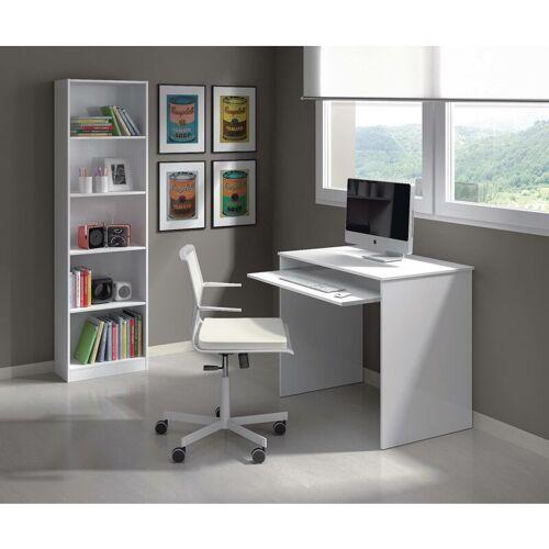 DMORA Schreibtisch mit ausziehbarem Regal, Farbe glänzend Weiß, 90 x 79 x 54