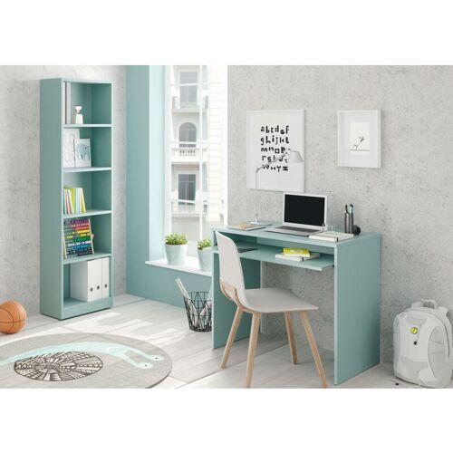 DMORA Schreibtisch mit ausziehbarem Regal, Farbe Wassergrün Farbe, 90 x 79 x