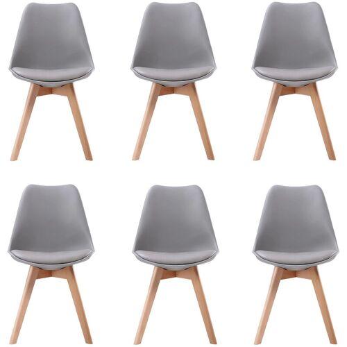 BENEFFITO SENJA - Set skandinavischer Stühle - GRAU - X6 - Grau