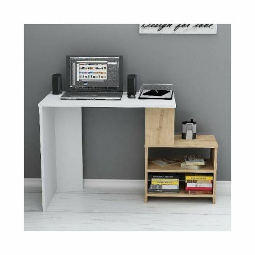 HOMEMANIA Sila Schreibtisch mit Regalen - aus Wohnzimmer, Schlafzimmer, Studio,