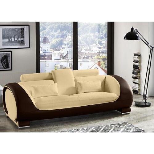 SAM Sofa 3-Sitzer Couch creme / creme / braun Vigo
