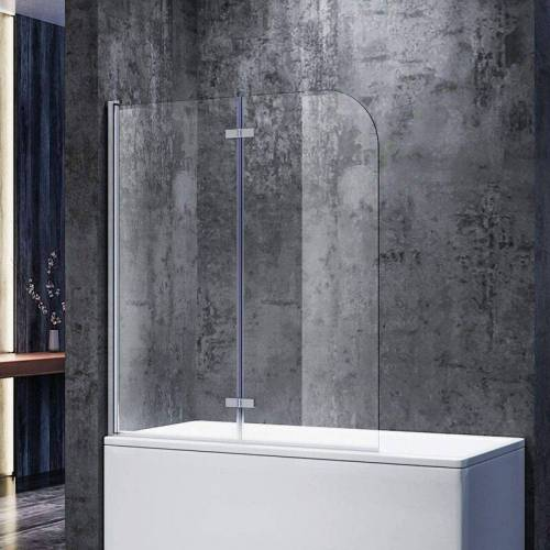 SONNI Badewannenaufsatz Glas 140(H)x120(B)cm Duschwand 6mm NANO ESG