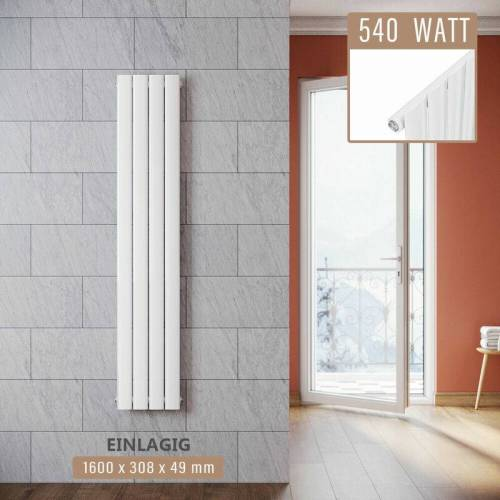 SONNI Design Paneelheizkörper Weiß Flachheizkörper Vertikal Einlagig