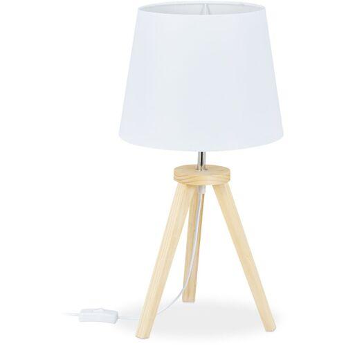 Relaxdays - Tischlampe Dreibein, Holz & Stoff, E27, skandinavisches