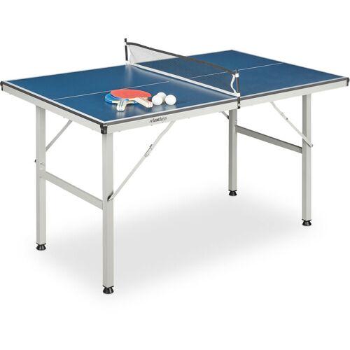 Relaxdays - Tischtennisplatte Indoor, Midsize, mit Netz, 2 Schläger, 3