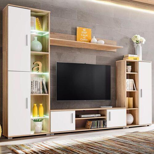 Topdeal TV-Wohnwand mit LED-Leuchten Sonoma Eiche und Weiß 11971