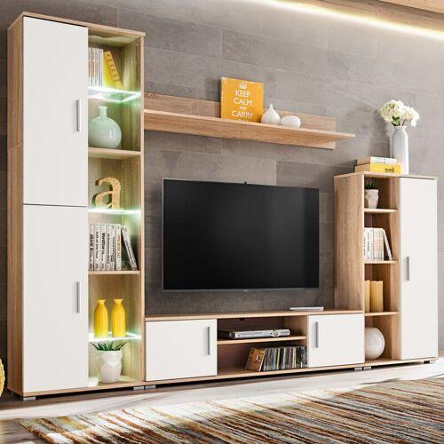 Zqyrlar - TV-Wohnwand mit LED-Leuchten Sonoma Eiche und Weiß