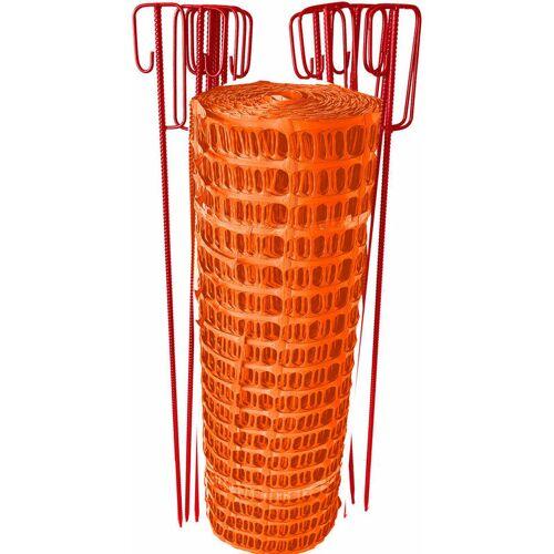 UvV Fangzaun orange 12,5kg 10 Absperrhalter + 50m Bauzaun reissfest