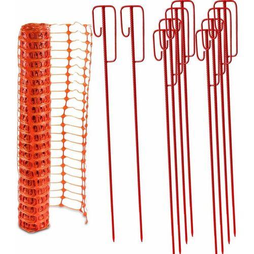 UVV Fangzaun orange 4 kg +10 Absperrhalter Set Baustellenzaun,