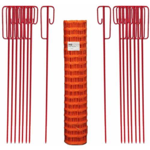 UvV Fangzaun Set Orange 50m 7,5kg +16 Halter Baustellen Absperrzaun