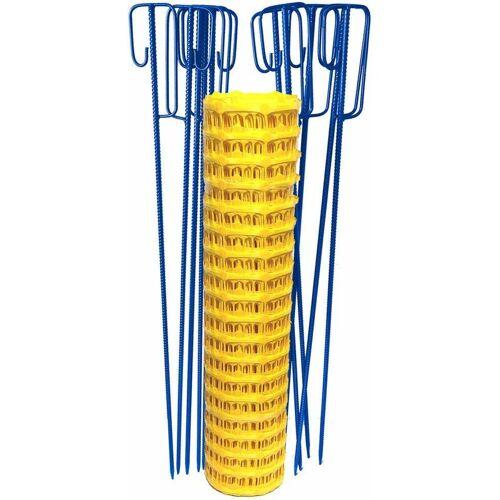 UvV Set Fangzaun gelb 50 m + 10 Absperrleinenhalter blau Bauzaun