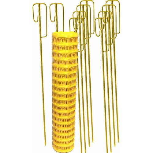 UvV Set Fangzaun gelb 50 m + 10 Absperrleinenhalter Warnzaun