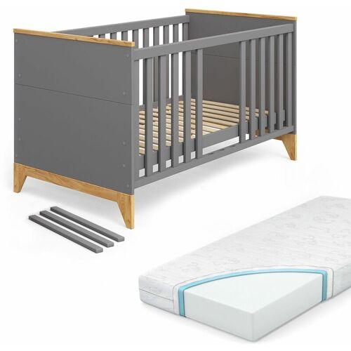 VITALISPA Babybett Malia Kinderbett Gitterbett Beistellbett 140x70cm + Matratze