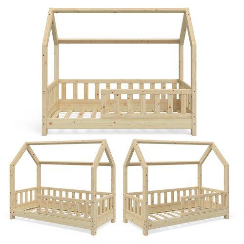 VITALISPA Hausbett WIKI 70x140 Zaun Natur Kinderbett Kinderhaus Kinder Bett Holz