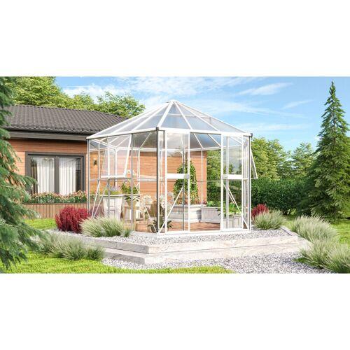 VITAVIA Gewächshaus-Pavillon 'Juno 9000' inkl. Stahlfundament weiß 9,9 m² 3 mm